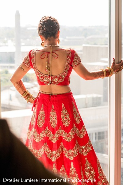 indian bride,indian bride getting ready,indian wedding lengha