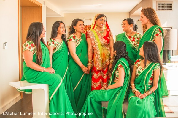 indian bride,indian bridesmaids,indian bride getting ready