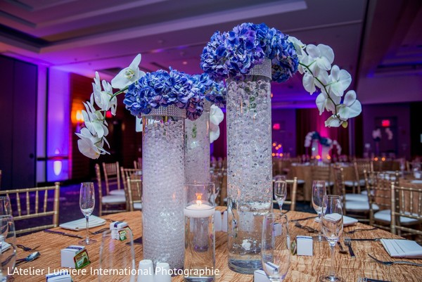 Gorgeous white and blue floral arrangements