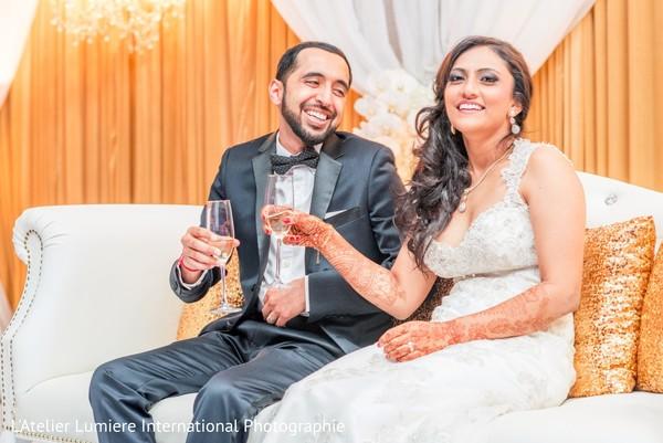 Couple during wedding toast