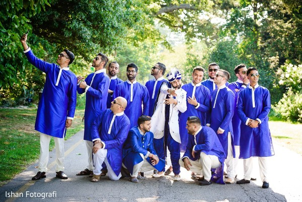 Fabulous indian groom and groomsmen in royal blue.