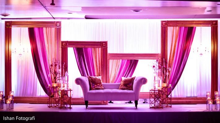 Unique wedding reception stage.