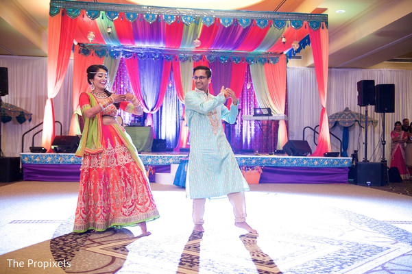 Bride and groom performing a choreography