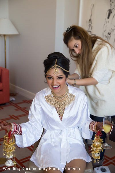 Lovely indian bride photo session before wedding ceremony