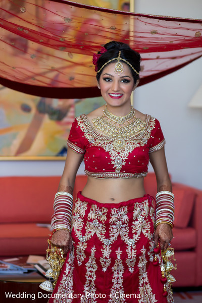 Beautiful indian bride photography before wedding ceremony