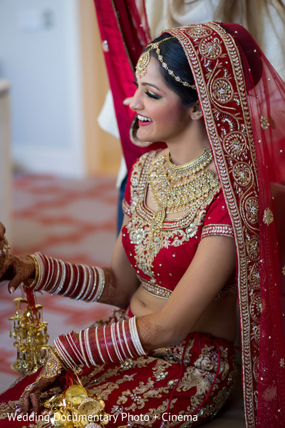 Indian bride smiling photography before wedding ceremony