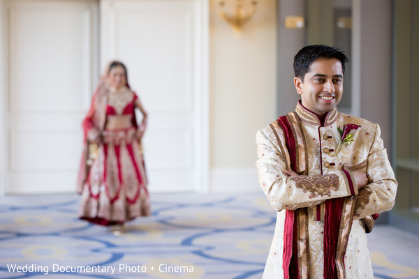 Indian groom waiting for the bride before wedding ceremony