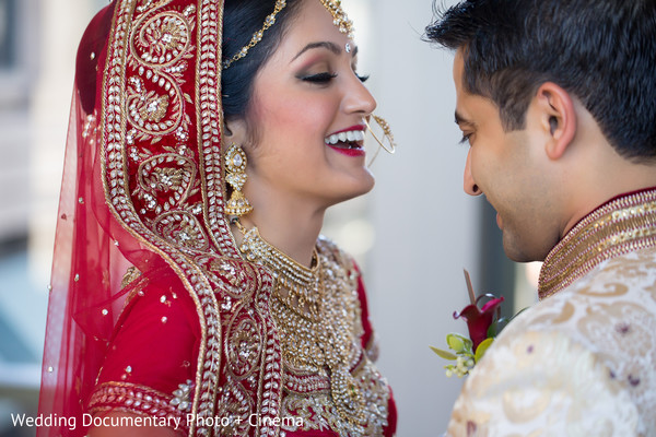 Indian couple seeing each other for the first time before wedding ceremony