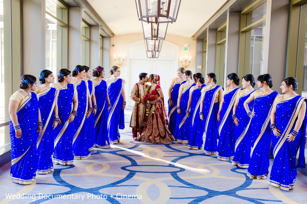 Indian couple and bridesmaids photography before wedding ceremony