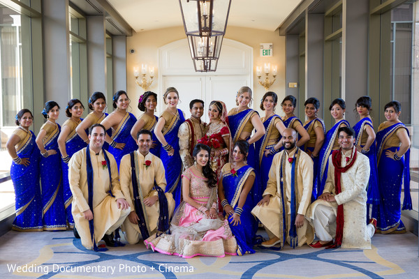 Indian couple, bridesmaids and groomsmen photography before wedding ceremony