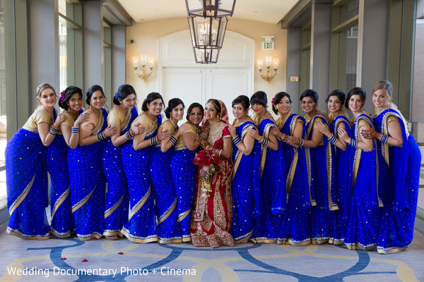 Indian bride and bridesmaids photography before wedding ceremony