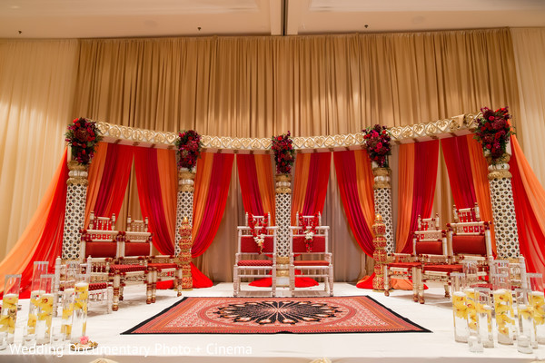 Beautiful mandap at indian wedding ceremony