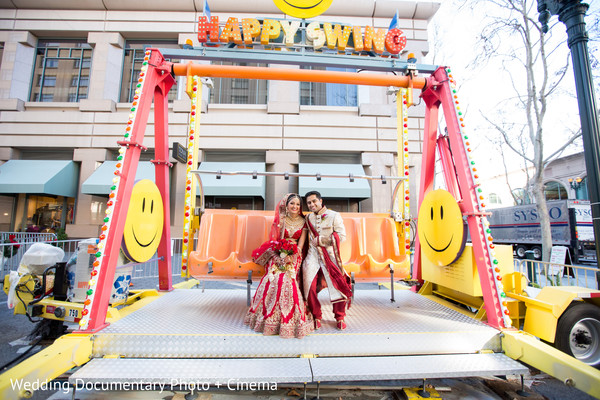 Indian couple on happy swing game photography