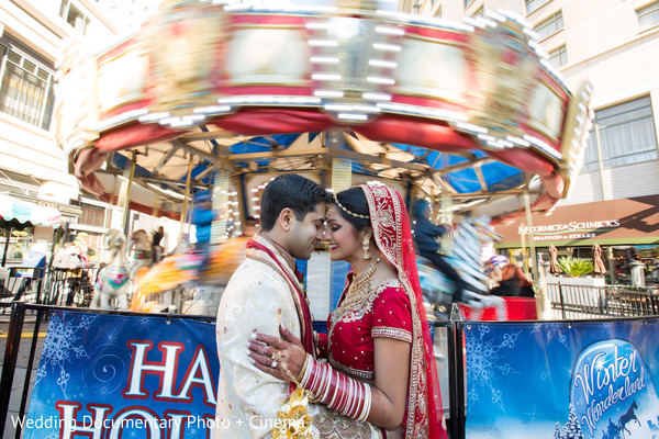 Lovely indian couple outdoor photography before wedding ceremony