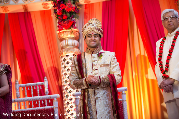 Indian groom waiting for the bride at wedding ceremony