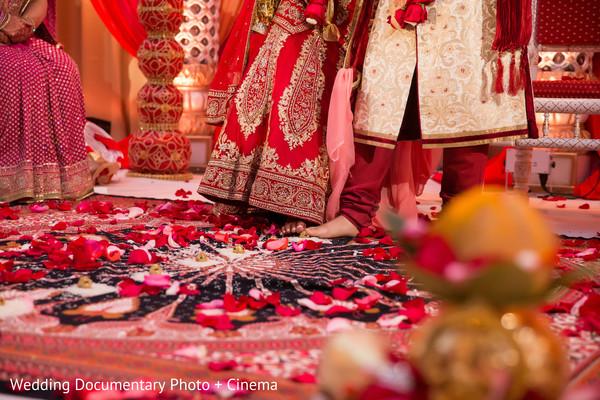 Saptapadi ritual at wedding ceremony