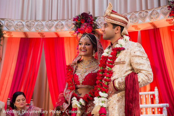 Indian couple having a great time at wedding ceremony
