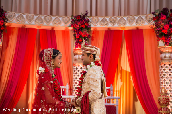 Lovely indian couple photo session at wedding ceremony