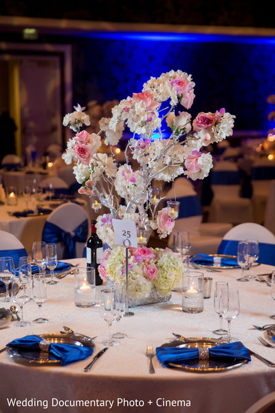 Floral centerpieces at indian wedding reception