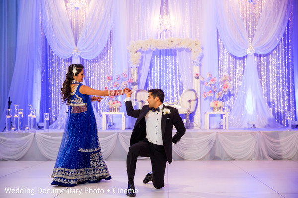 Indian couple having their first dance at wedding reception