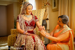 Sweet moment while bride is getting ready