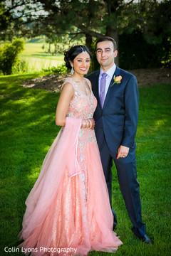 bridal fashion ideas,indian wedding gowns,peach gown