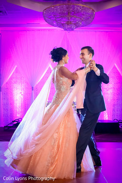 peach bridal gown,indian wedding gowns,indian fusion wedding reception