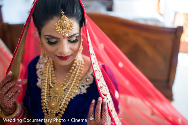 Indian bride ready for wedding ceremony in California Sikh Wedding by Wedding Documentary Photo + Cinema