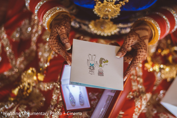 Indian bride reading a letter before wedding ceremony in California Sikh Wedding by Wedding Documentary Photo + Cinema