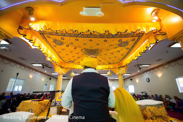 Priest at indian wedding ceremony in California Sikh Wedding by Wedding Documentary Photo + Cinema