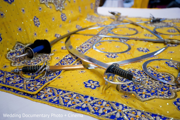Swords at indian wedding ceremony in California Sikh Wedding by Wedding Documentary Photo + Cinema