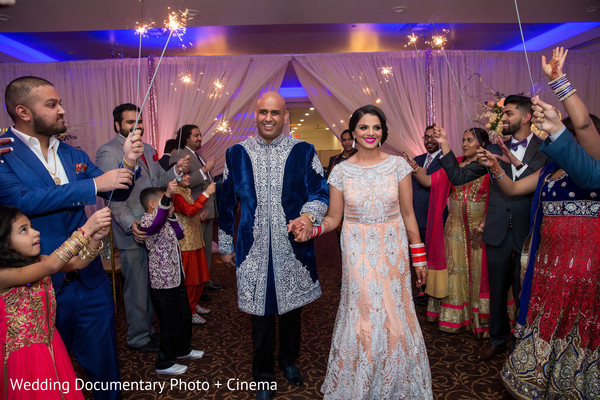 Beautiful indian couple arrived at wedding reception