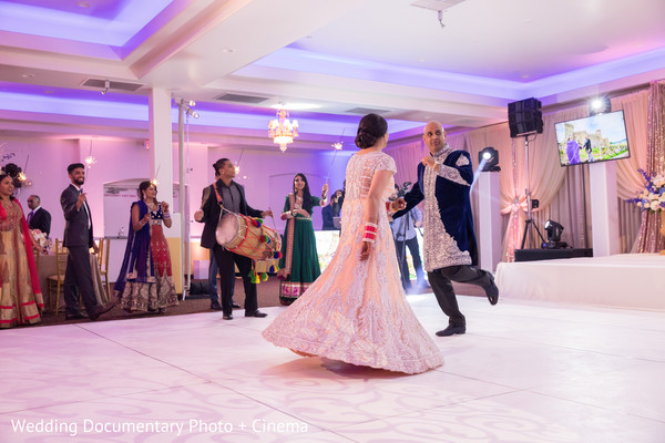 Indian couple dancing photography in California Sikh Wedding by Wedding Documentary Photo + Cinema