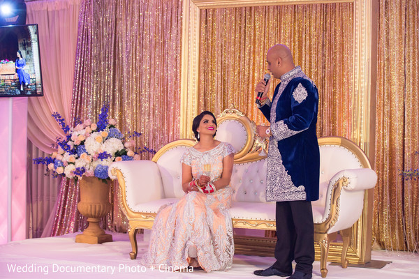 Indian groom saying some words at wedding reception in California Sikh Wedding by Wedding Documentary Photo + Cinema