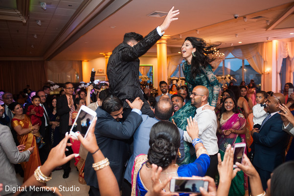 Indian couple having a great time at wedding reception in New York Wedding by Digital Memory Studio