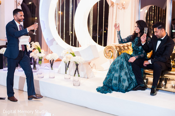 Indian couple toasting at wedding reception in New York Wedding by Digital Memory Studio