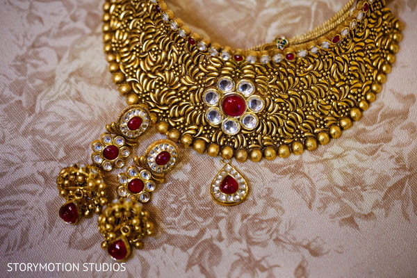 Gold and red bridal choker. in New Rochelle, NY Sikh Wedding by StoryMotion Studios