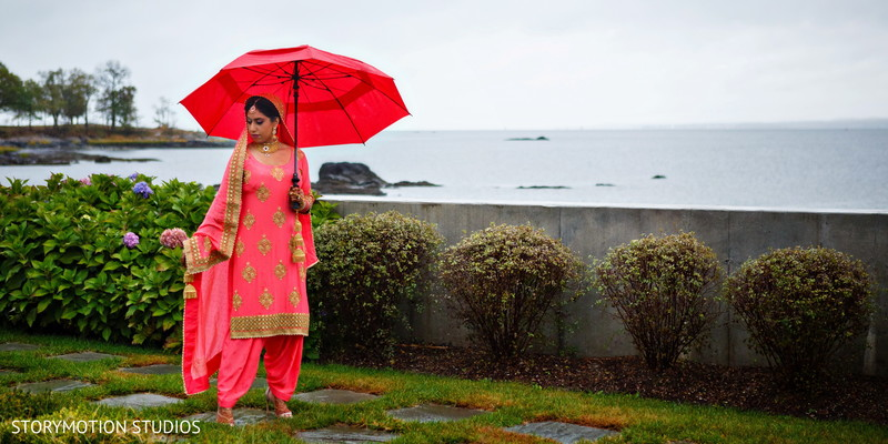 Rainy day bridal portrait. in New Rochelle, NY Sikh Wedding by StoryMotion Studios