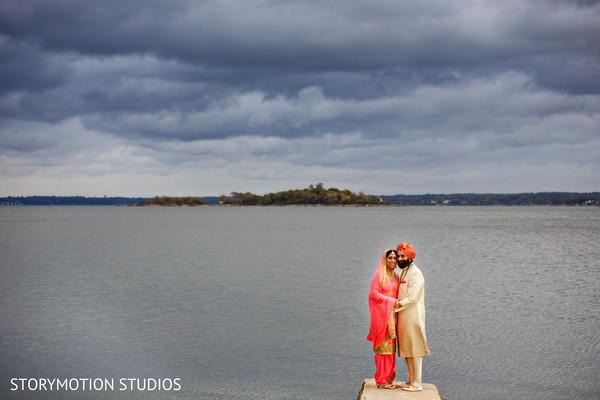 Seaside wedding portrait.