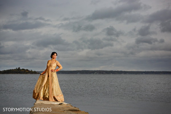 Drop-dead gorgeous bridal portrait. in New Rochelle, NY Sikh Wedding by StoryMotion Studios