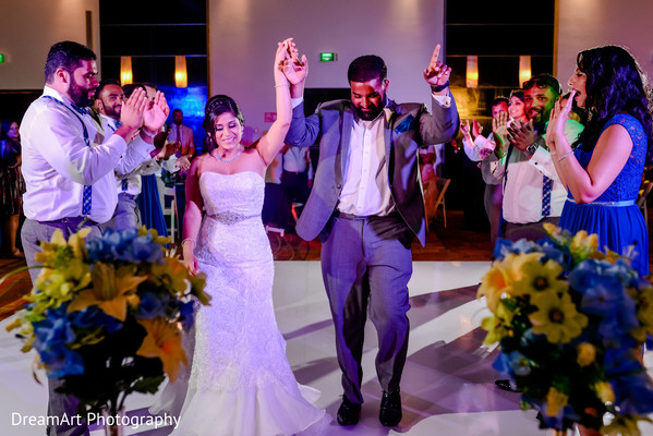 Indian couple arriving at wedding reception in Playa Del Carmen, Mexico Wedding by DreamArt Photography