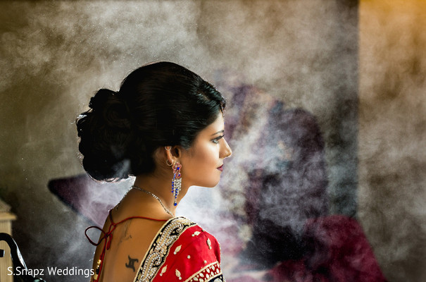 Indian bride hair and makeup style. in Long Island, NY Fusion Wedding by S.Snapz Weddings