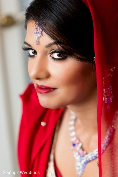 Indian bride close up. in Long Island, NY Fusion Wedding by S.Snapz Weddings