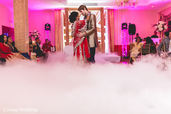 Fabulous first dance surrounded by mist. in Long Island, NY Fusion Wedding by S.Snapz Weddings