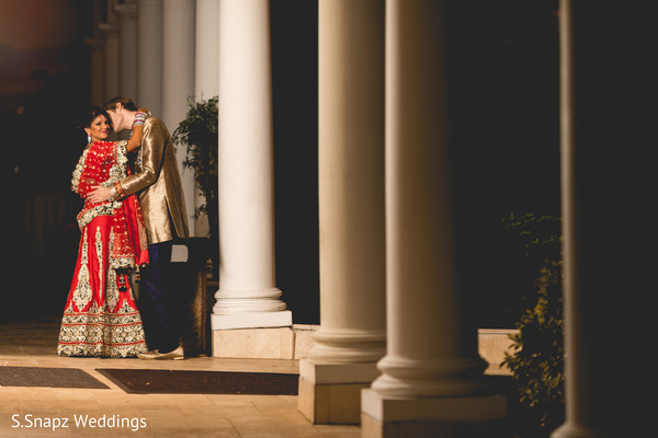 Indian bride and groom night shot. in Long Island, NY Fusion Wedding by S.Snapz Weddings