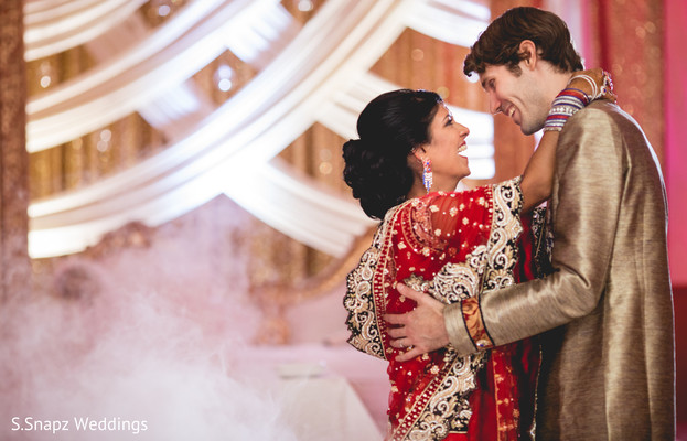 Sweet Indian couple at their wedding ceremony. in Long Island, NY Fusion Wedding by S.Snapz Weddings