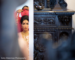 Beautiful indian bride getting ready for wedding ceremony