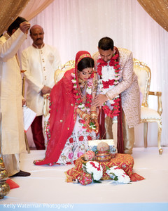 Lovely indian couple photography at wedding ceremony