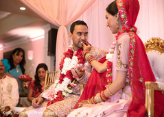 Indian couple having a good time at wedding ceremony