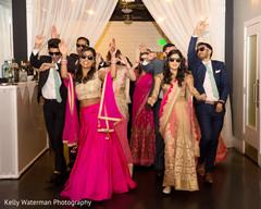 wedding entrance,indian sari,indian bridesmaids